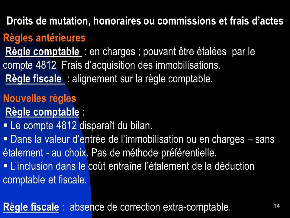 Droits de mutation, honoraires ou commissions et frais d'actes