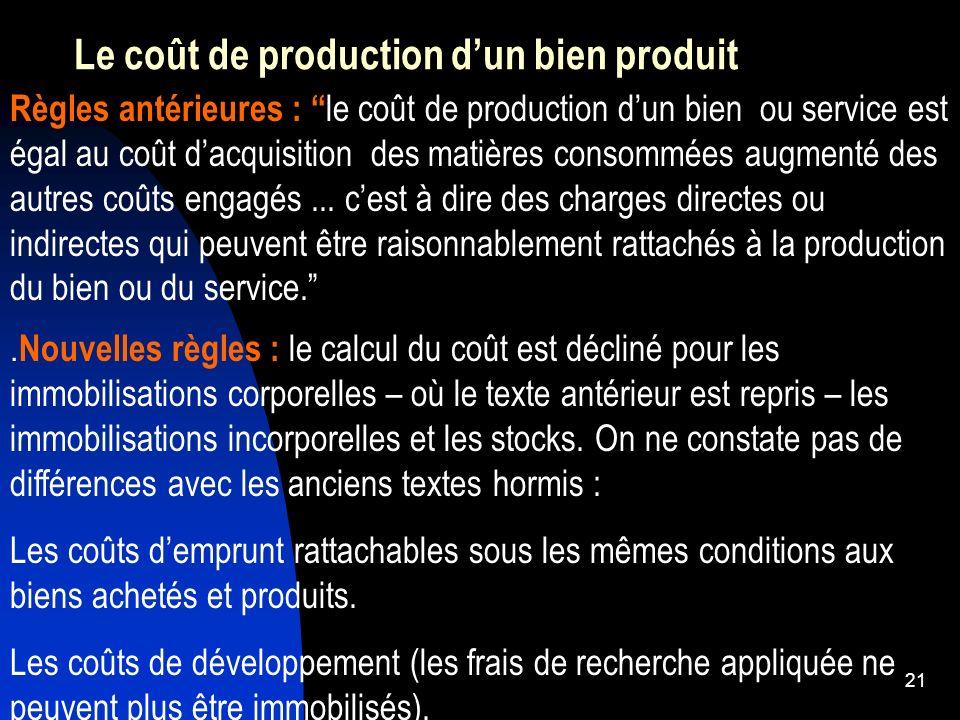 Le coût de production d'un bien produit