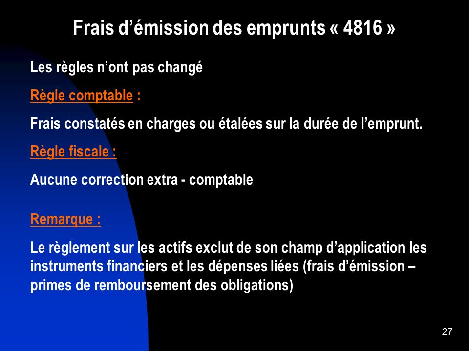Frais d'émission des emprunts « 4816 »