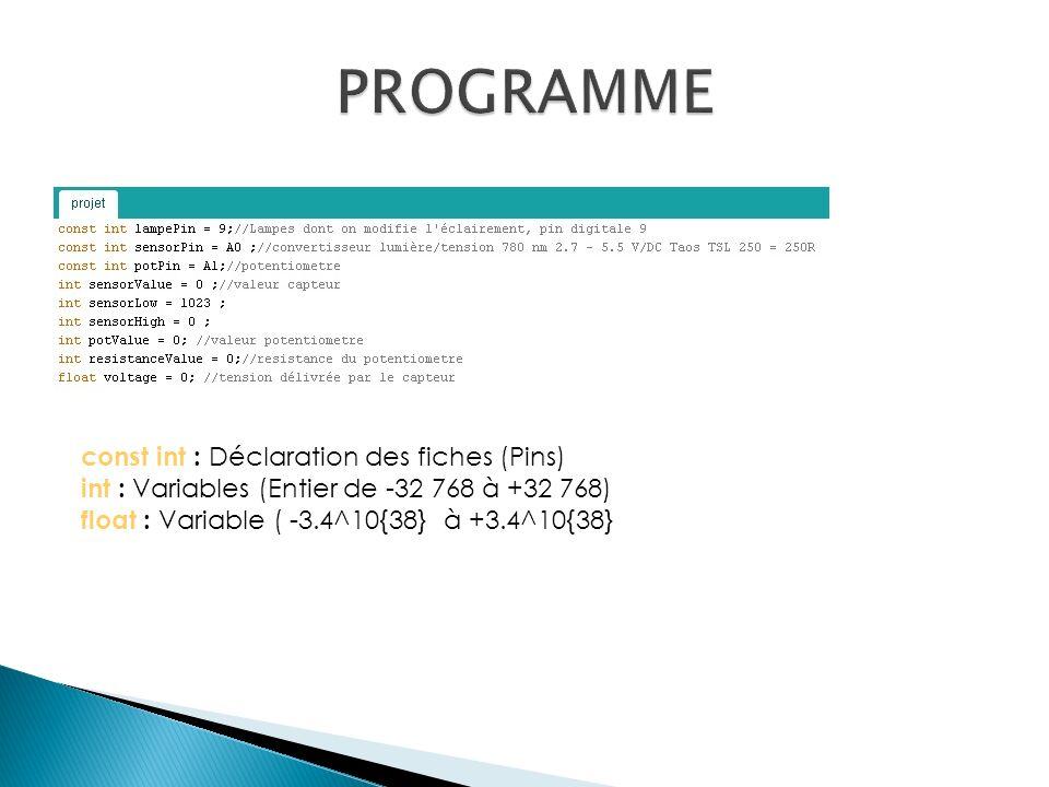 PROGRAMME const int : Déclaration des fiches (Pins)