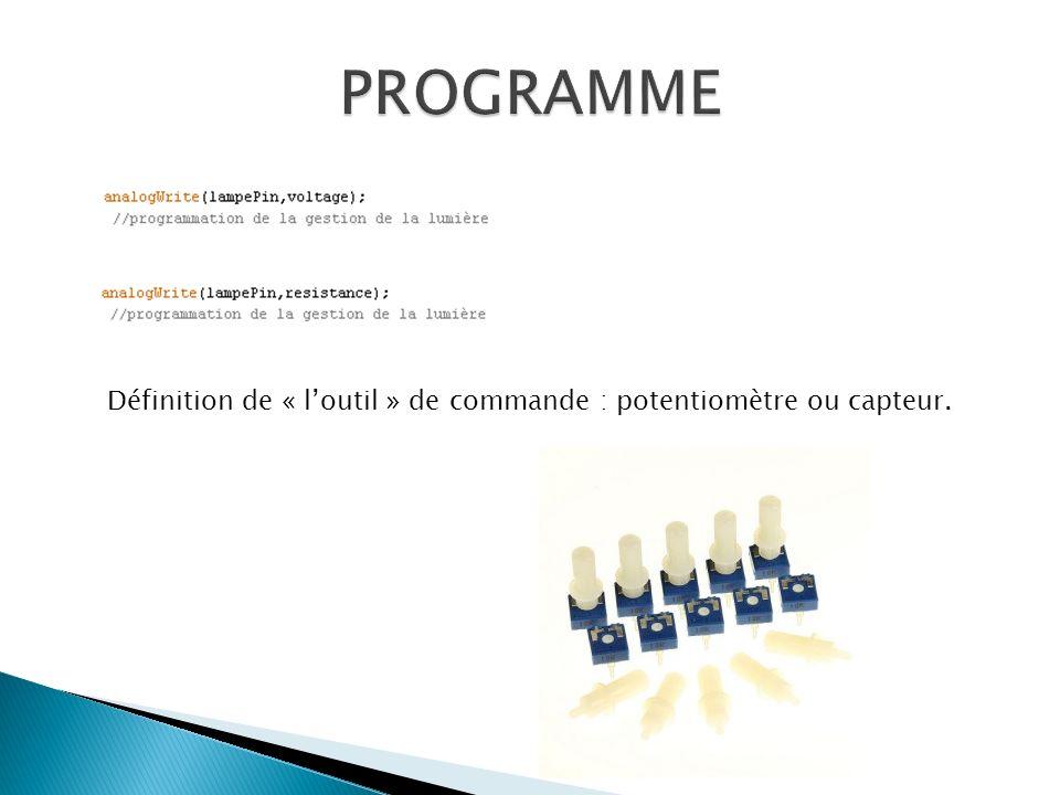 PROGRAMME Définition de « l'outil » de commande : potentiomètre ou capteur.