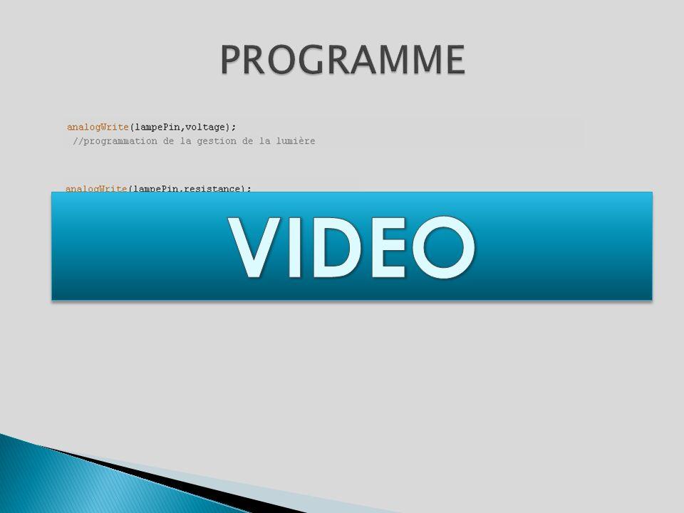 PROGRAMME VIDEO Définition de « l'outil » de commande : potentiomètre ou capteur.