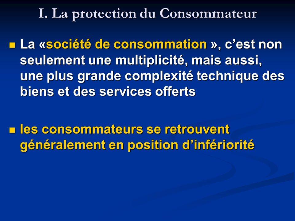 I. La protection du Consommateur