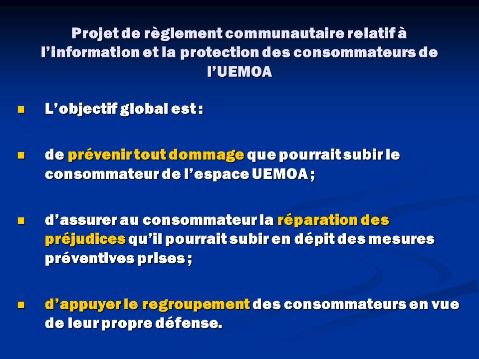 Projet de règlement communautaire relatif à l'information et la protection des consommateurs de l'UEMOA