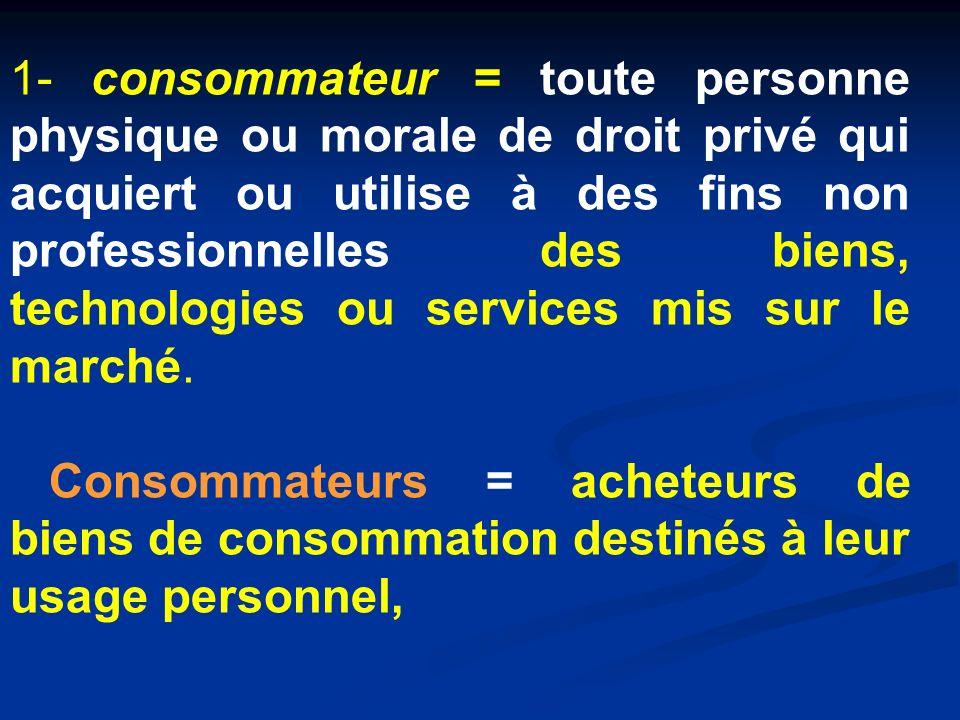 1- consommateur = toute personne physique ou morale de droit privé qui acquiert ou utilise à des fins non professionnelles des biens, technologies ou services mis sur le marché.