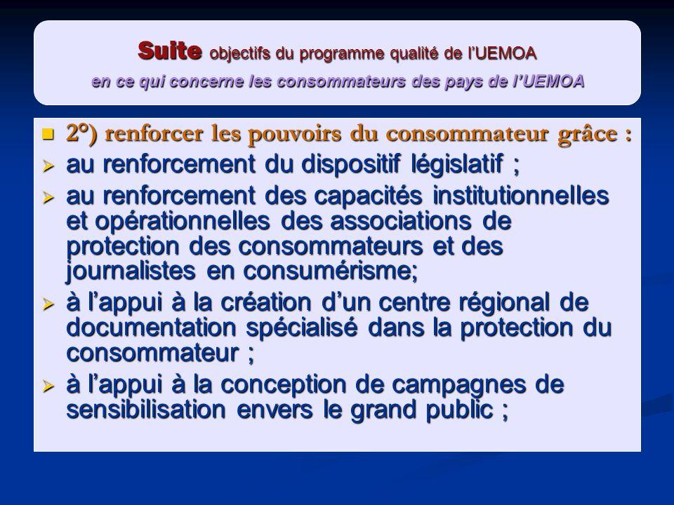 Suite objectifs du programme qualité de l'UEMOA en ce qui concerne les consommateurs des pays de l'UEMOA