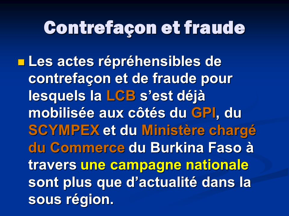 Contrefaçon et fraude