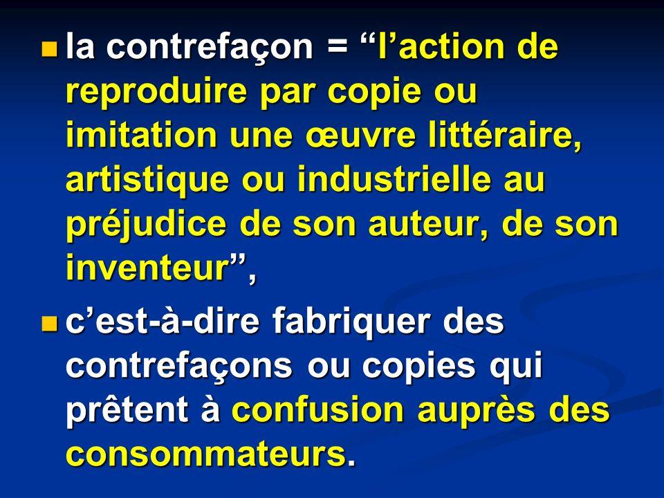 la contrefaçon = l'action de reproduire par copie ou imitation une œuvre littéraire, artistique ou industrielle au préjudice de son auteur, de son inventeur ,