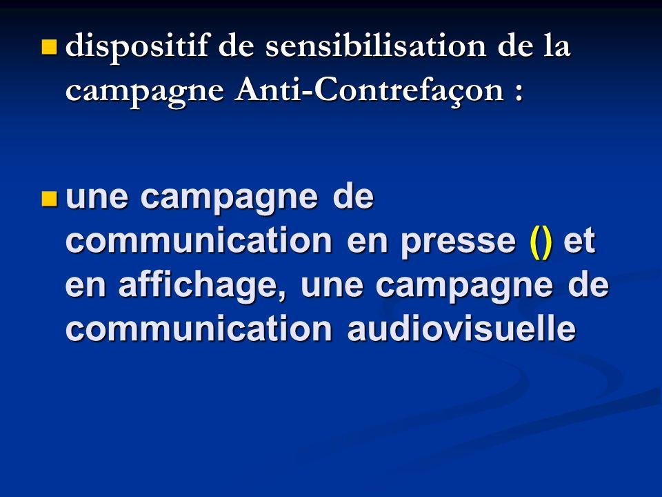 dispositif de sensibilisation de la campagne Anti-Contrefaçon :
