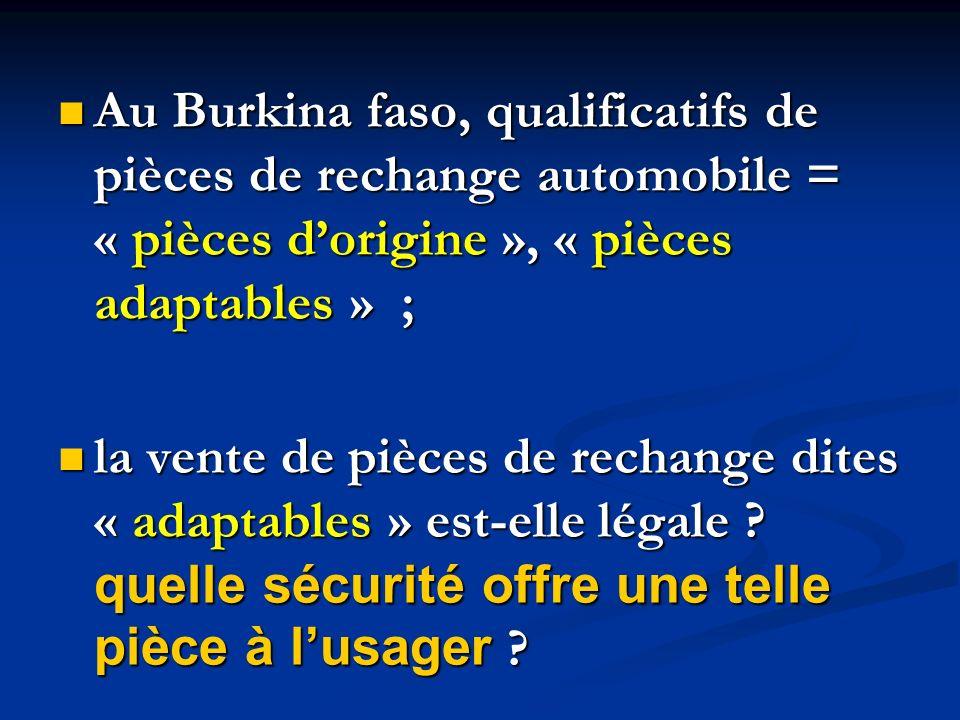 Au Burkina faso, qualificatifs de pièces de rechange automobile = « pièces d'origine », « pièces adaptables » ;