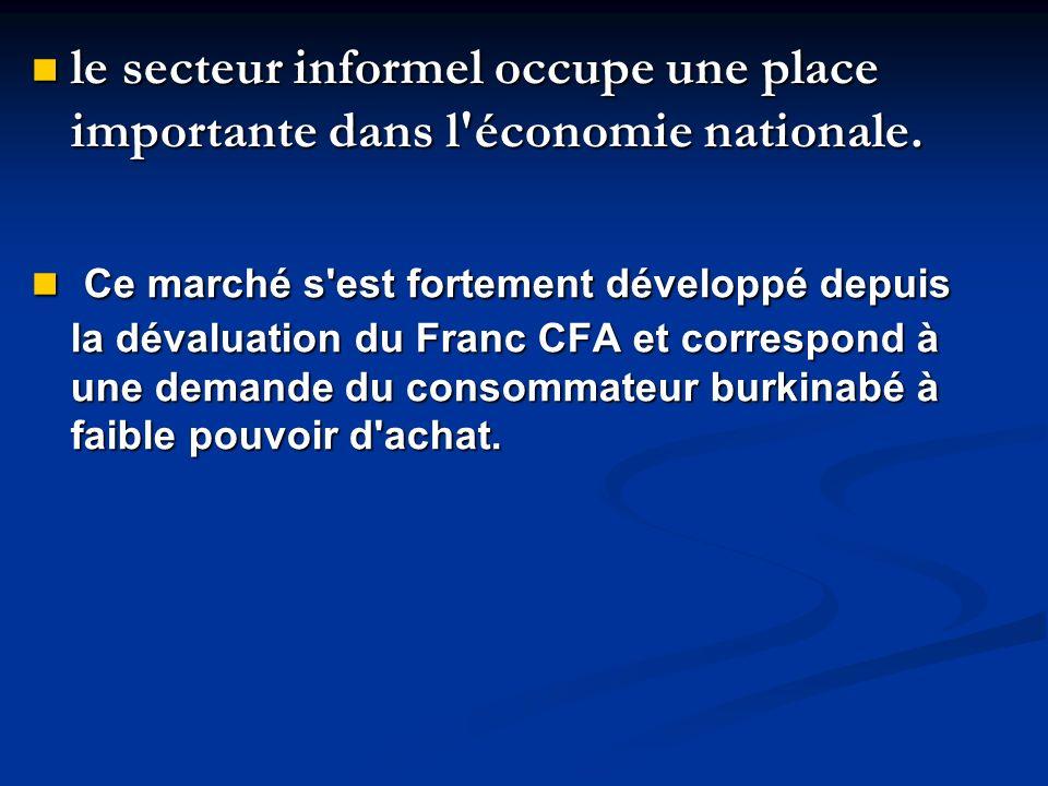 le secteur informel occupe une place importante dans l économie nationale.