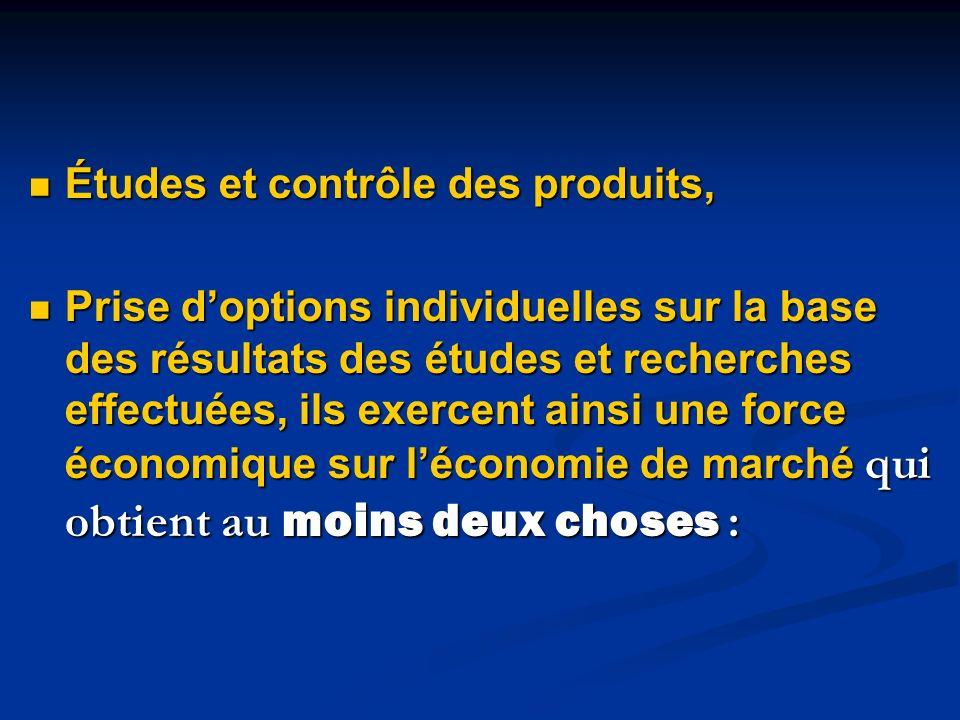 Études et contrôle des produits,
