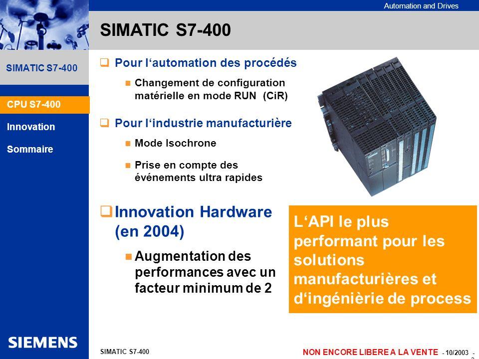SIMATIC S7-400 Innovation Hardware (en 2004)