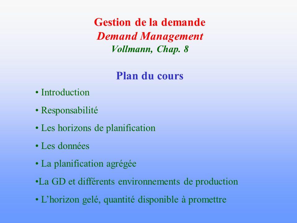 Gestion de la demande Demand Management Vollmann, Chap. 8 Plan du cours