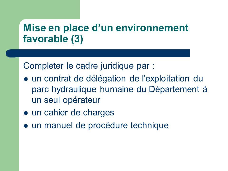 Mise en place d'un environnement favorable (3)