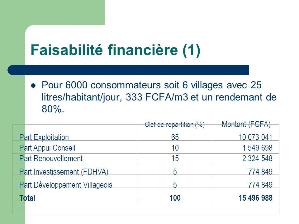 Faisabilité financière (1)