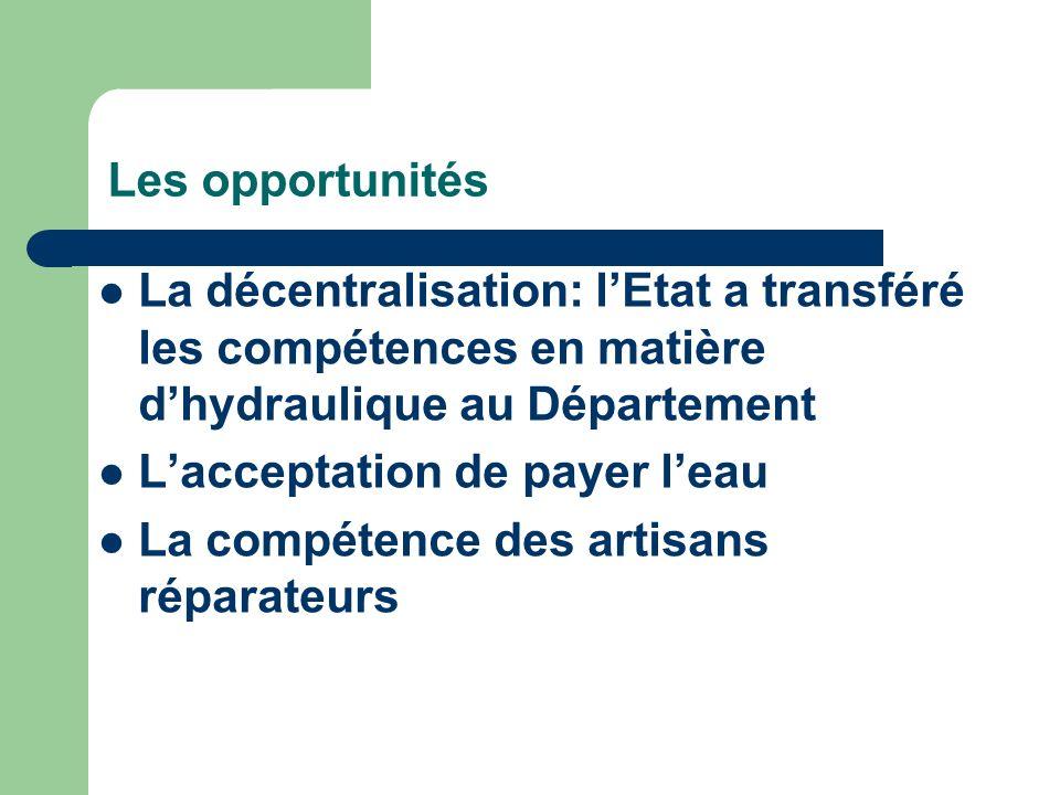 Les opportunités La décentralisation: l'Etat a transféré les compétences en matière d'hydraulique au Département.