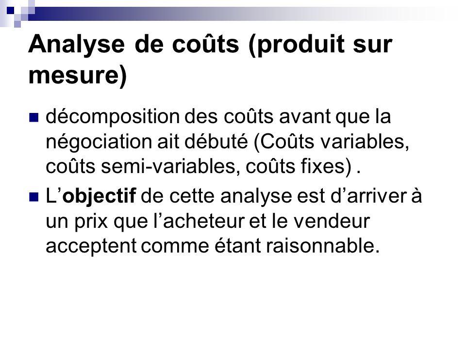 Analyse de coûts (produit sur mesure)