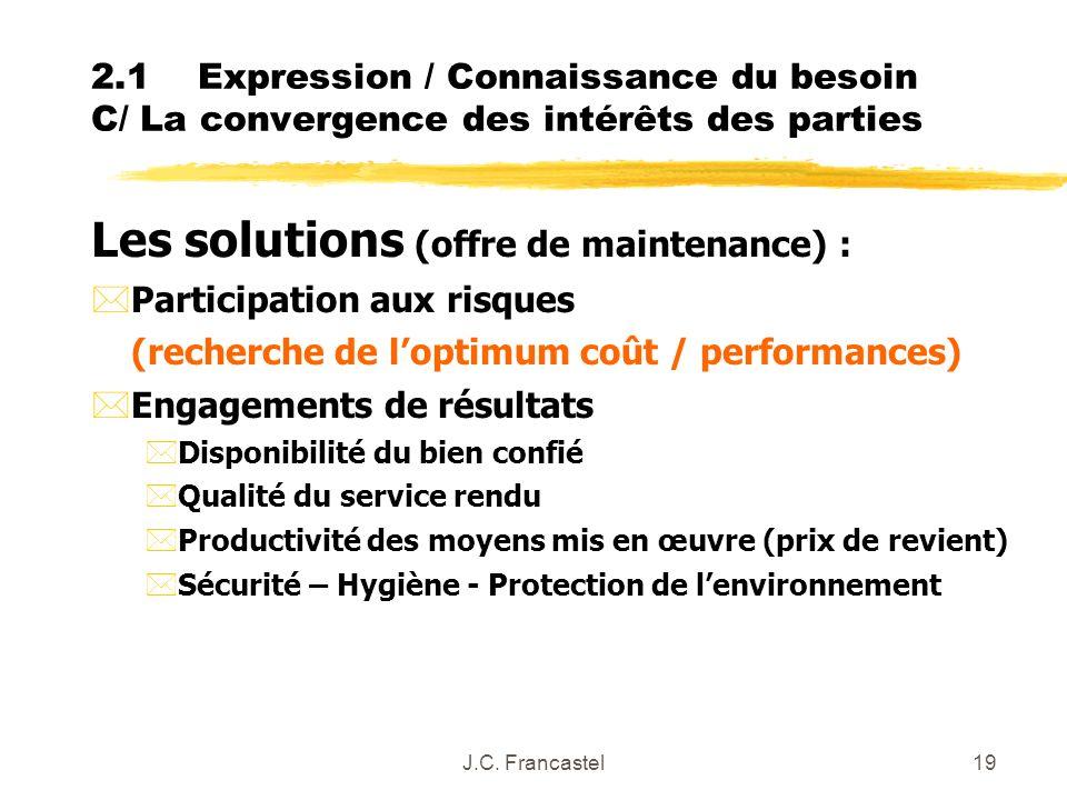 Les solutions (offre de maintenance) :