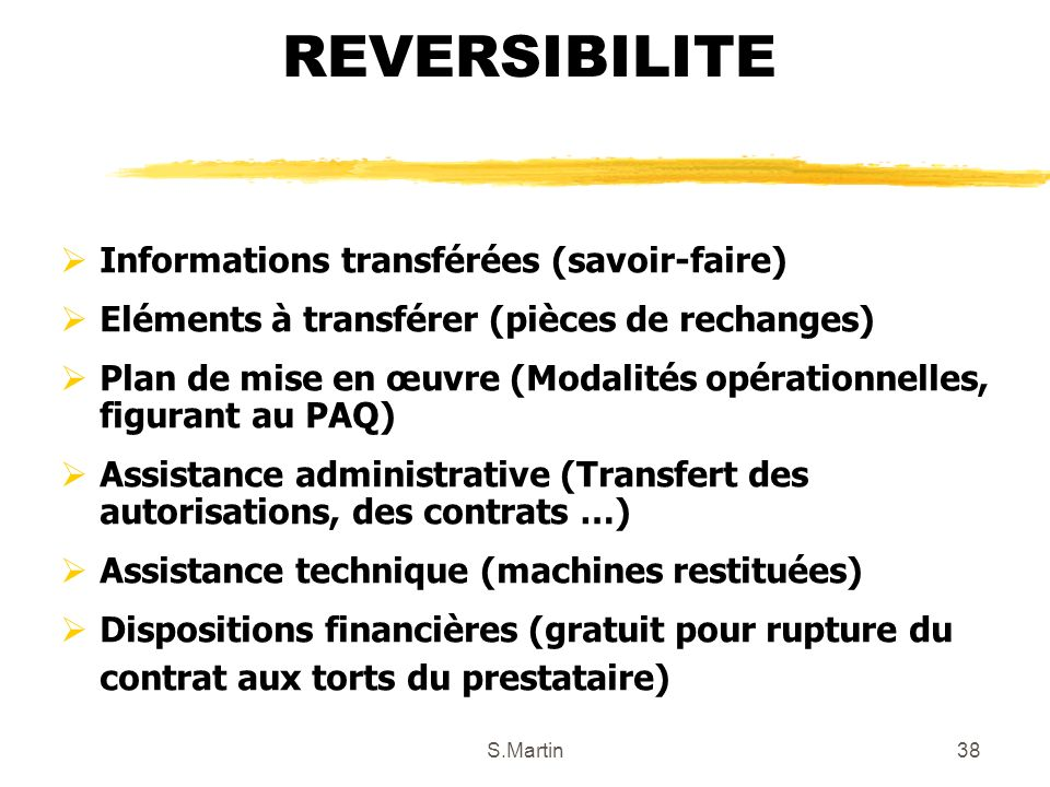 REVERSIBILITE Informations transférées (savoir-faire)