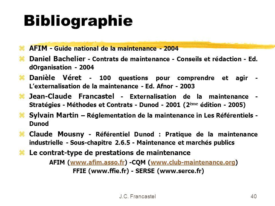 Bibliographie AFIM - Guide national de la maintenance - 2004