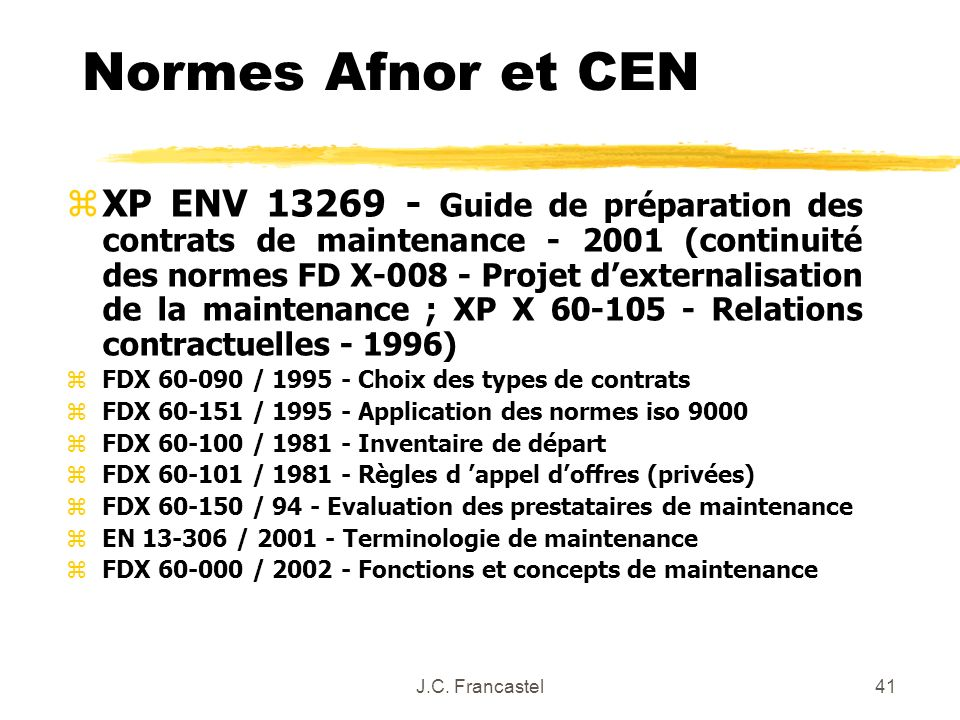Normes Afnor et CEN
