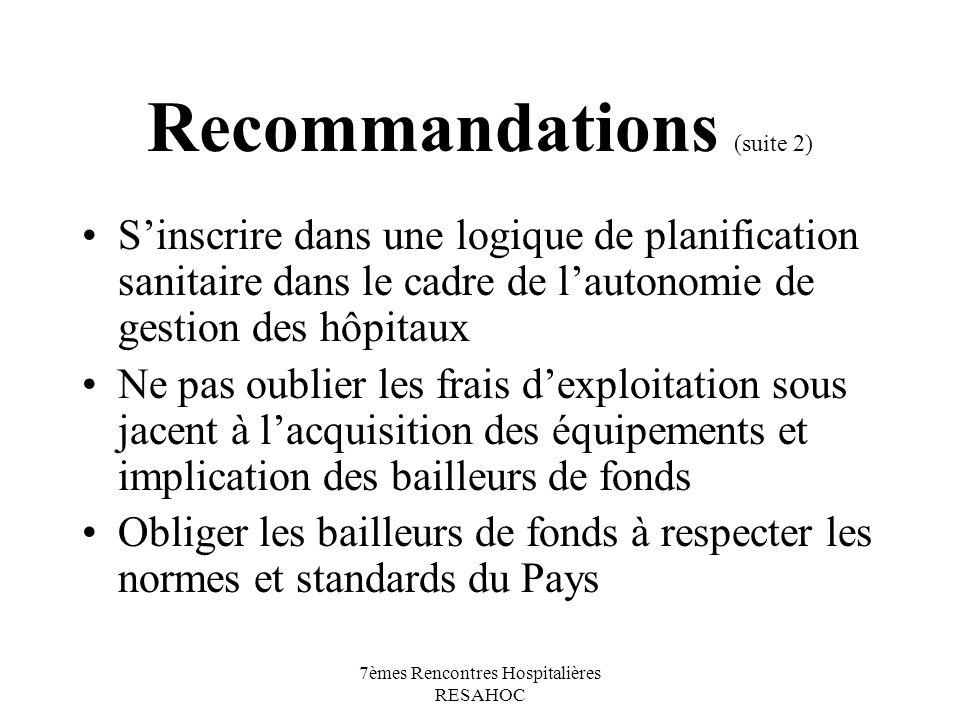 Recommandations (suite 2)