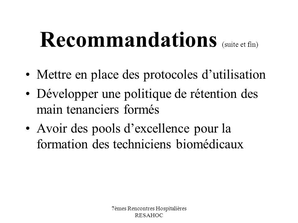 Recommandations (suite et fin)