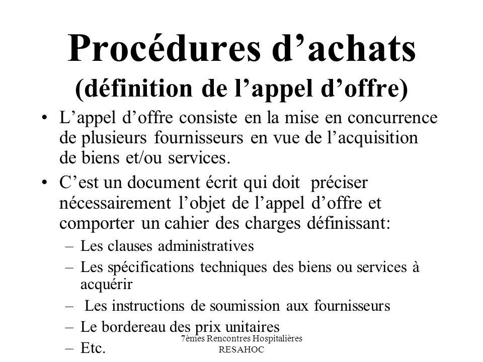 Procédures d'achats (définition de l'appel d'offre)