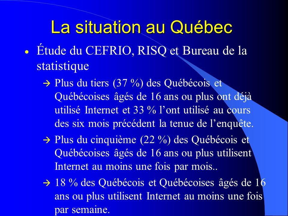 La situation au Québec Étude du CEFRIO, RISQ et Bureau de la statistique.