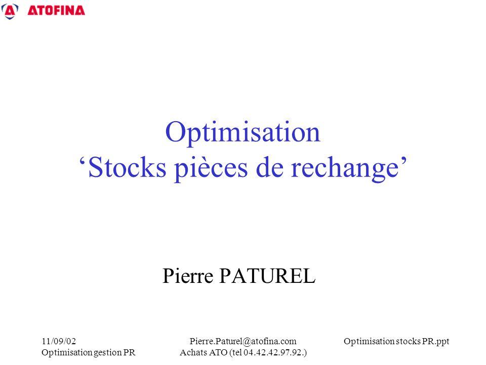 Optimisation 'Stocks pièces de rechange'