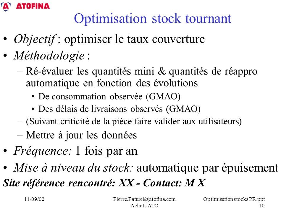 Optimisation stock tournant