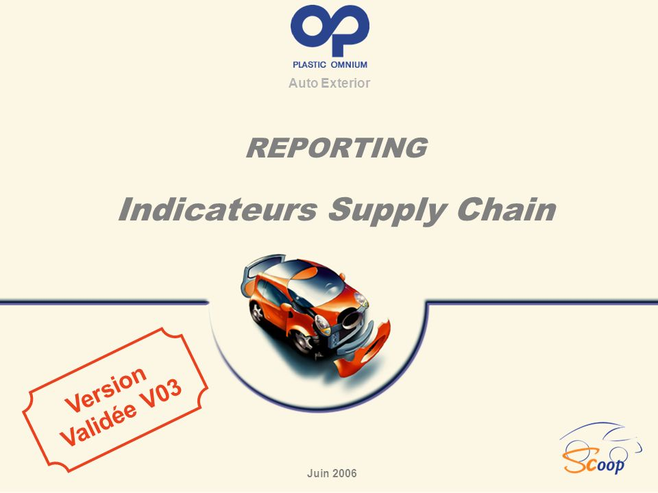 REPORTING Indicateurs Supply Chain