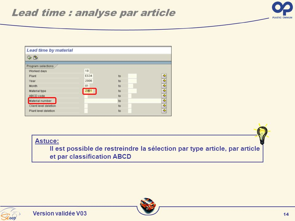 Lead time : analyse par article
