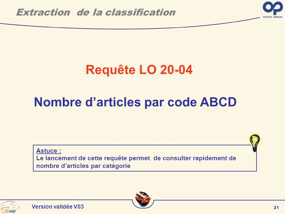 Extraction de la classification