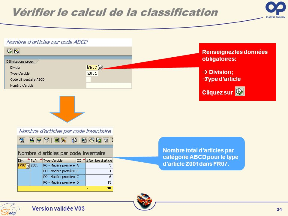 Vérifier le calcul de la classification