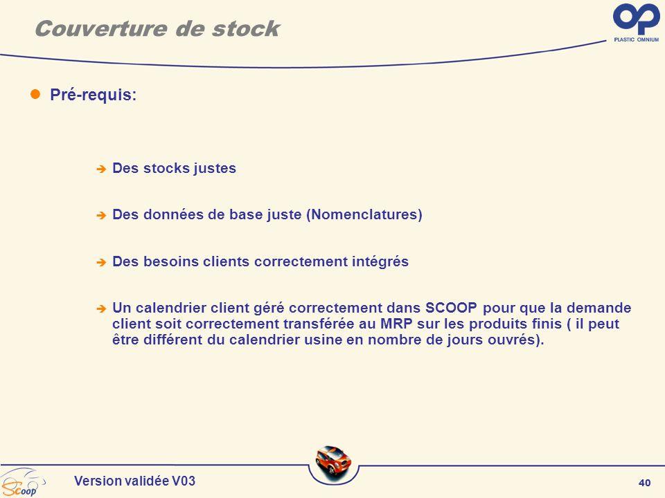 Couverture de stock Pré-requis: Des stocks justes