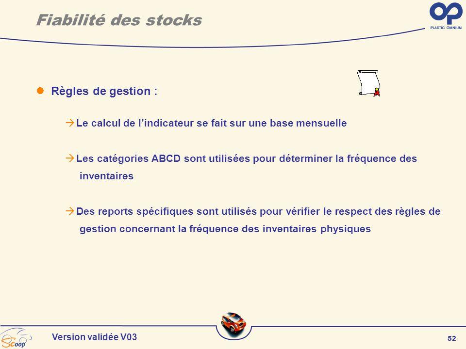 Fiabilité des stocks Règles de gestion :