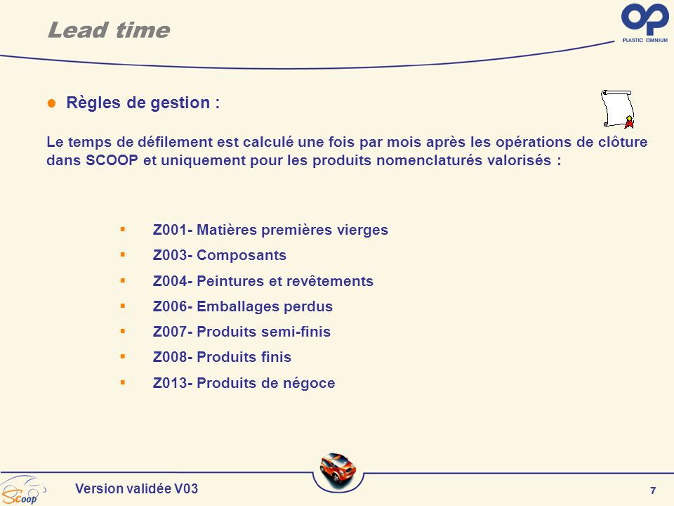 Lead time Règles de gestion :