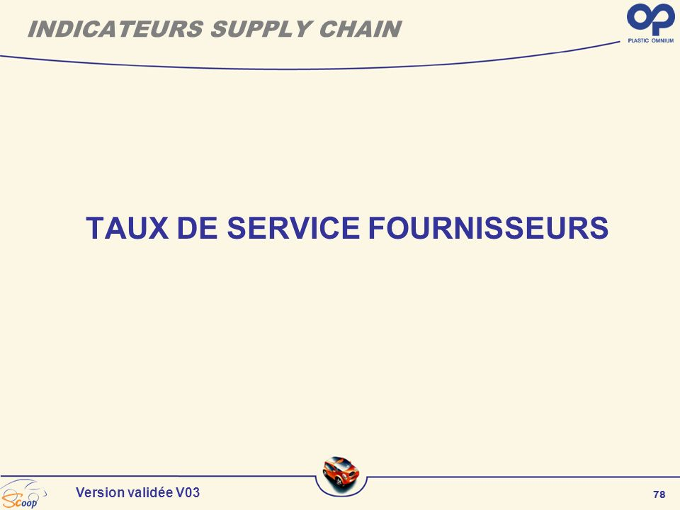 INDICATEURS SUPPLY CHAIN