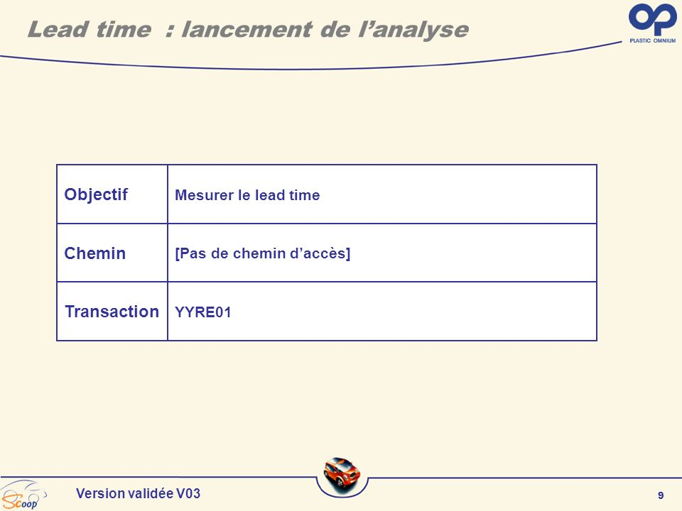 Lead time : lancement de l'analyse