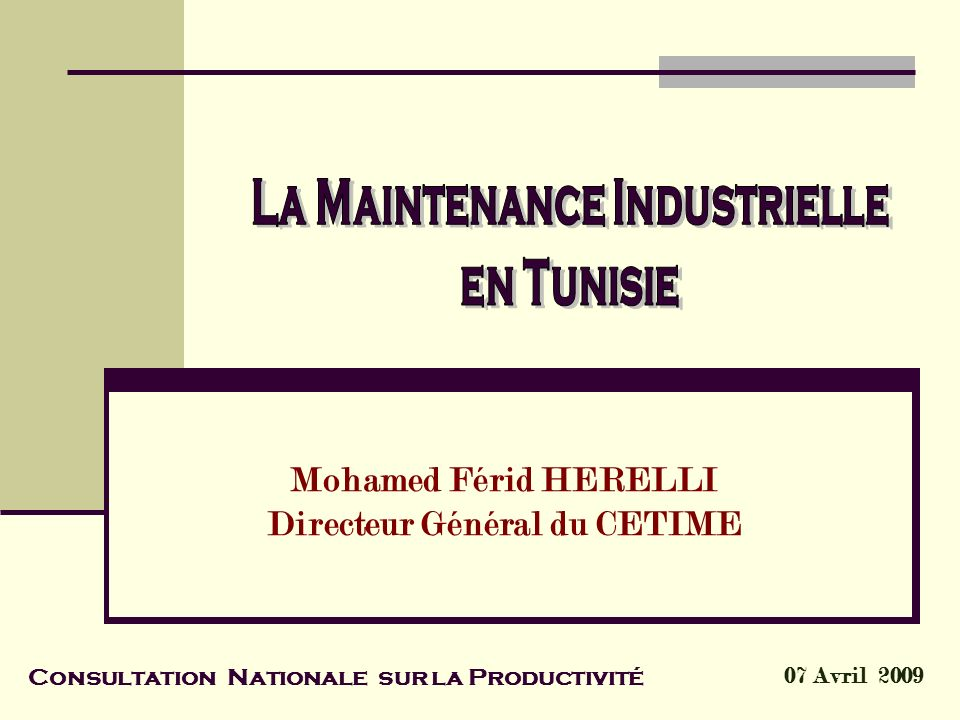 Mohamed Férid HERELLI Directeur Général du CETIME