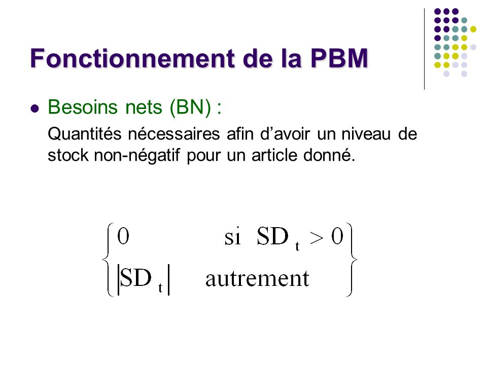 Fonctionnement de la PBM