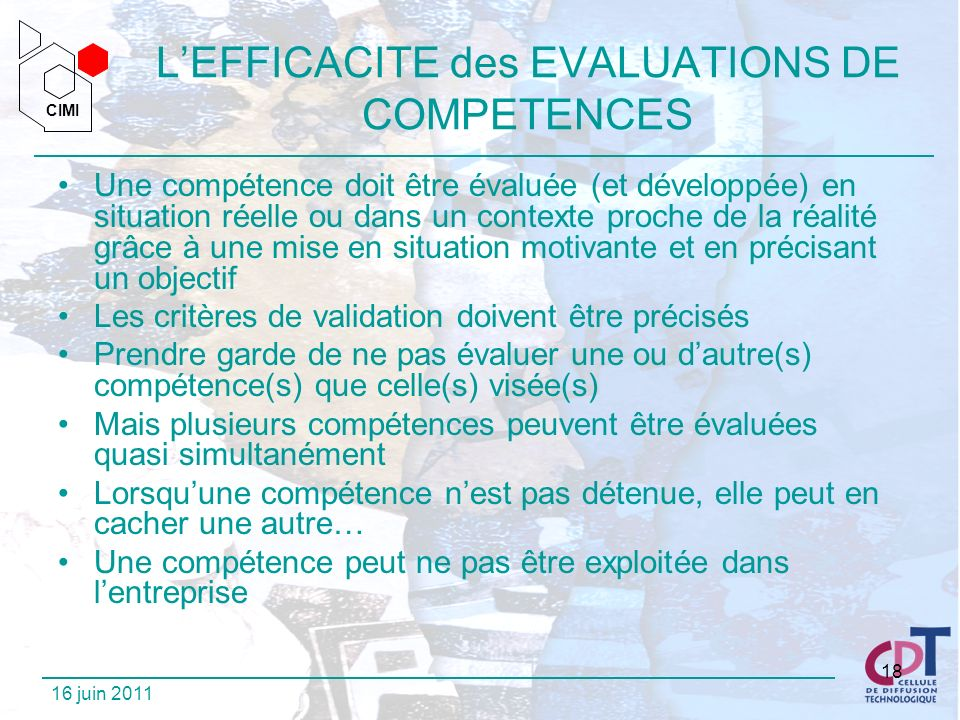 L'EFFICACITE des EVALUATIONS DE COMPETENCES