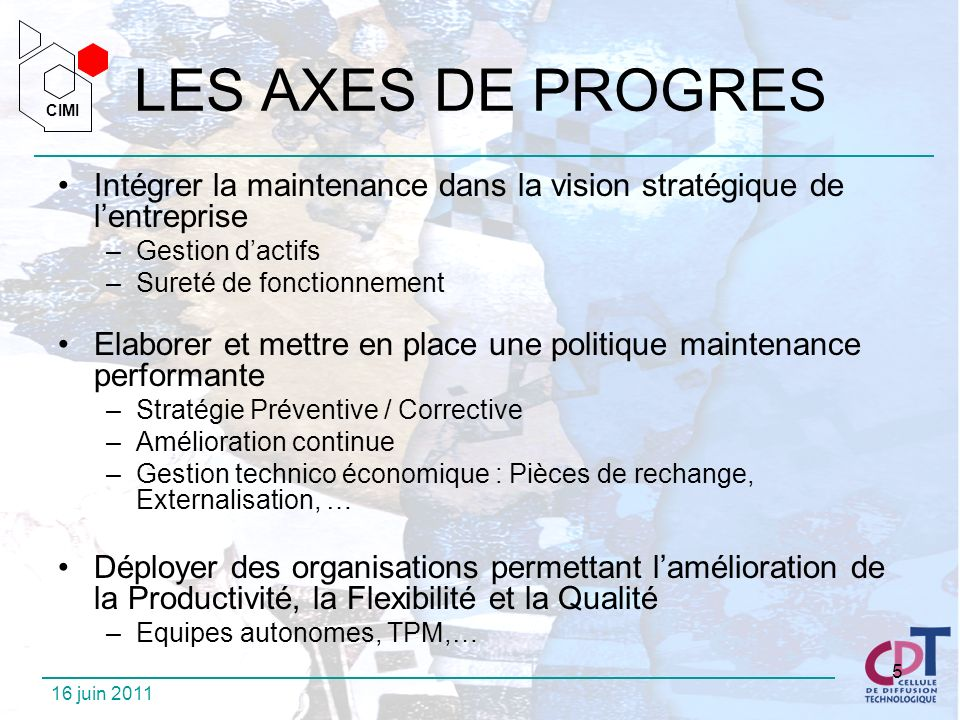 LES AXES DE PROGRES Intégrer la maintenance dans la vision stratégique de l'entreprise. Gestion d'actifs.