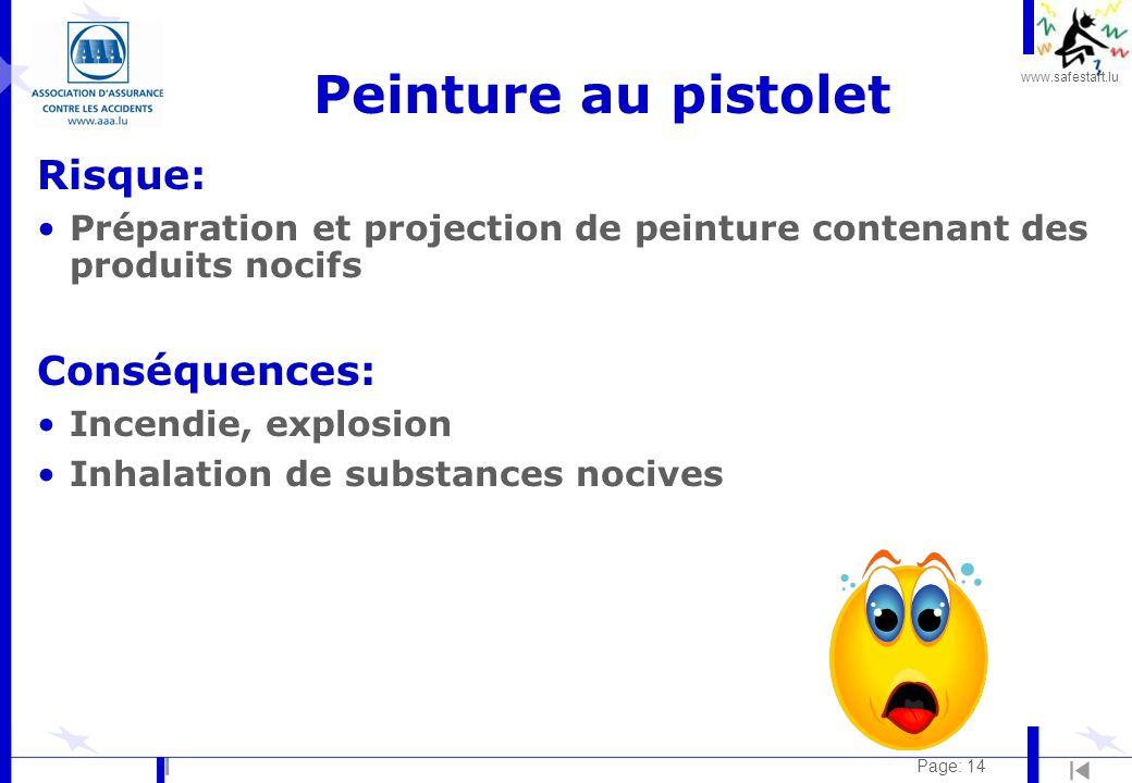 Peinture au pistolet Risque: Conséquences: