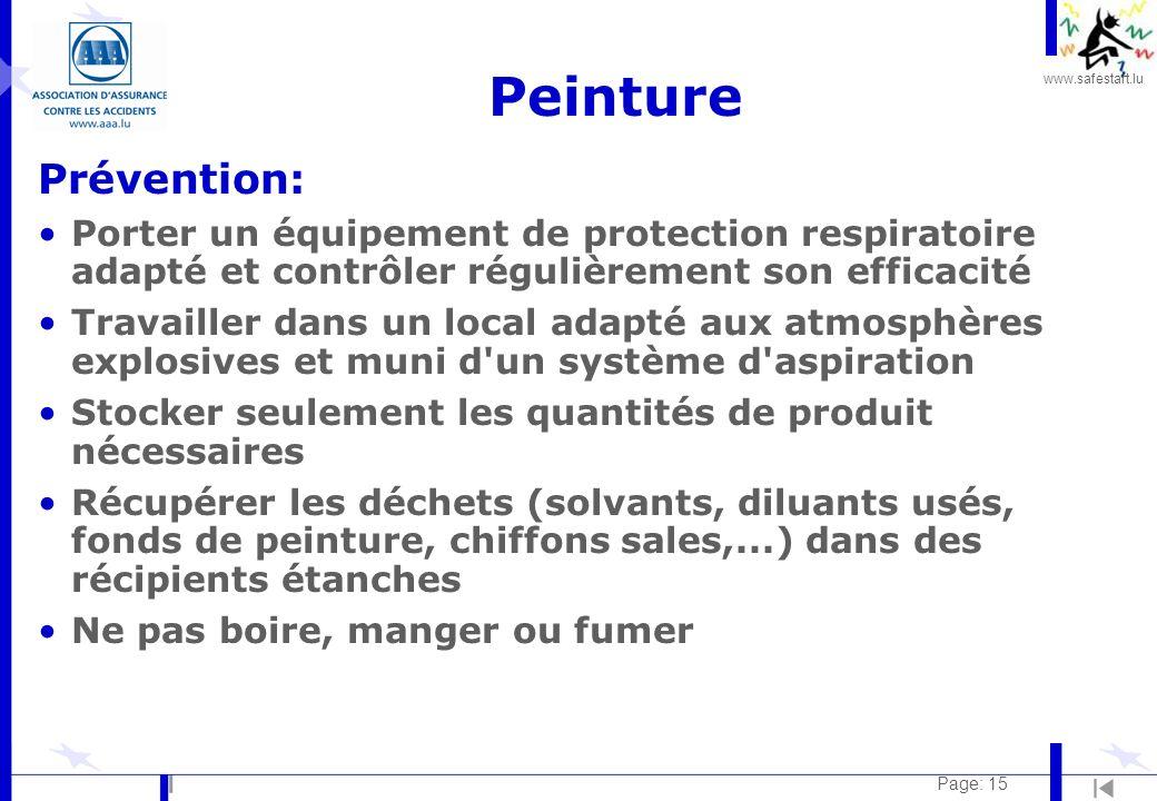 Peinture Prévention: Porter un équipement de protection respiratoire adapté et contrôler régulièrement son efficacité.
