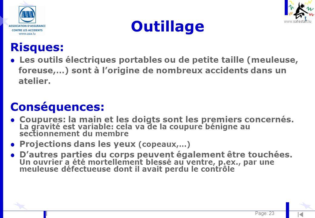 Outillage Risques: Conséquences: