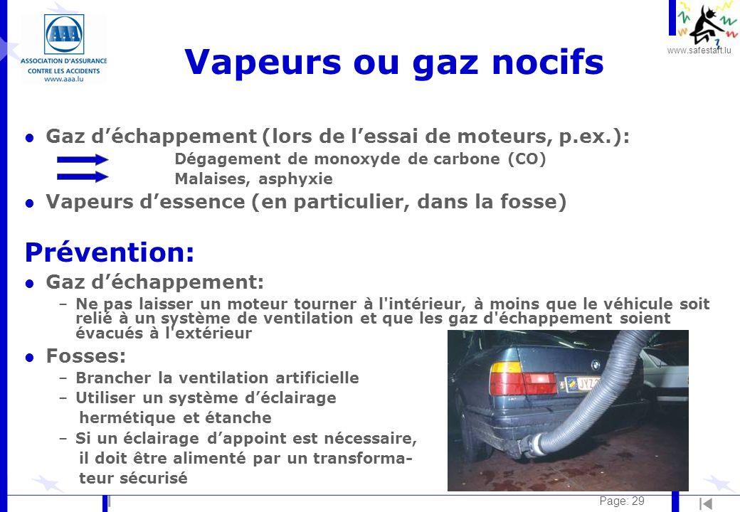 Vapeurs ou gaz nocifs Prévention: