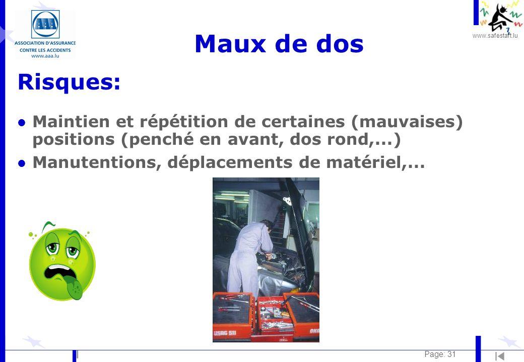 Maux de dos Risques: Maintien et répétition de certaines (mauvaises) positions (penché en avant, dos rond,...)